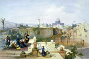 Jerusalem Art - Dome of the Rock in the background by Munir Alawi