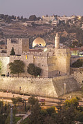 Tourists Attraction Photo Prints - Dome Of The Rock With Tower Of David Print by Richard Nowitz