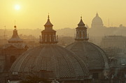 Italian Sunset Posters - Domes & St Peters Basilica In Rome, Italy Poster by Alberto Incrocci