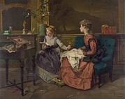 Flower Motifs Posters - Domestic Scene With Two Girls, One Poster by Everett