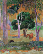 Exotic Metal Prints - Dominican Landscape Metal Print by Paul Gauguin