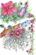 Glass Bottle Drawings - Domino Petunia by Cathie Richardson