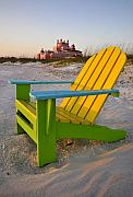 St Petersburg Florida Metal Prints - Don Cesar and beach chair Metal Print by David Lee Thompson