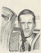 Celebrity Portraits Drawings Posters - Don Draper Poster by Jason Kasper
