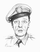 Famous People Drawings - Don Knotts by Murphy Elliott