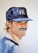  Baseball Art Painting Framed Prints - Don Mattingly Framed Print by Brian Degnon