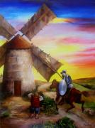 Don Quijote Paintings - Don Quixotes Windmill Adventure by Dominica Alcantara