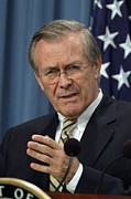 Gestures Photo Prints - Donald H. Rumsfeld Secretary Of Defense Print by Everett