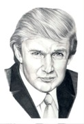 Famous People Drawings - Donald Trump by Murphy Elliott