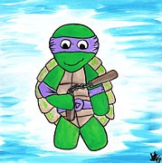 Staff Paintings - Donatello With Nunchucks by Jera Sky