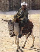 Donkey Mixed Media Framed Prints - Donkey Rider in Cairo  Framed Print by Randy Sprout