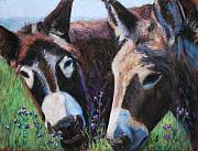 Farm Animals Pastels Prints - Donkey Tonk Print by Billie Colson