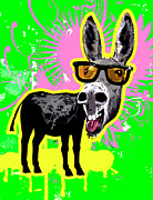 Donkey Digital Art Metal Prints - Donkey Wearing Sunglasses, Laughing Metal Print by New Vision Technologies Inc