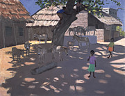 Children Playing Paintings - Donkeys Lamu Kenya by Andrew Macara