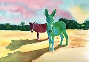 Mick Painting Originals - Donkeys With An Attitude by Sharon Mick