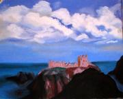 Castle Pastels - Donnattar Castle Near Stonehaven by Arlene  Wright-Correll
