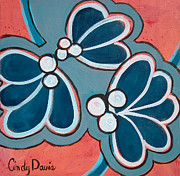 Swirling Prints - Dont Cry Teal Babies Print by Cindy Davis