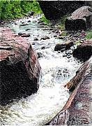 Creek Drawings Acrylic Prints - Dont Get Swept Away Acrylic Print by Nils Beasley