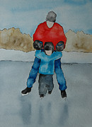 Skating Paintings - Dont Let Go Dad by Twyla Wehnes