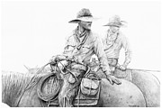 Cowboy Sketches Framed Prints - Dont Look Back Framed Print by Jack Schilder