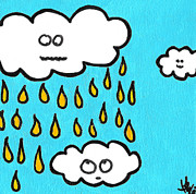 Storm Clouds Drawings Posters - Dont Pee On Me Poster by Jera Sky