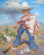 Playing Cards Painting Framed Prints - Dont Slap Leather With the Pecos Kid Framed Print by Texas Tim Webb