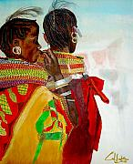 Maasai Painting Originals - Dont Wake The Lion by G Cuffia
