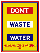 Wwii Propaganda Framed Prints - Dont Waste Water Framed Print by War Is Hell Store