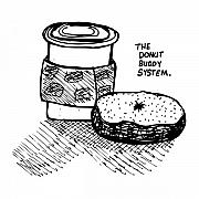 Snack Drawings Prints - Donut Buddy System Print by Karl Addison