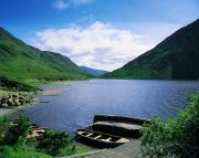 Boats In Water Prints - Doo Lough, Delphi, Co Mayo, Ireland Print by The Irish Image Collection