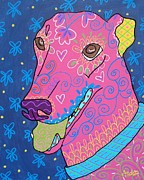 Greyhound Prints - Doodle Greyhound Print by Audra Sampson