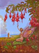 Fuschia Painting Posters - Doolin Fairy Poster by Tomas OMaoldomhnaigh