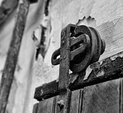 Rusty Door Prints - Door - Pulley - Black And White Print by Paul Ward
