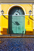 Door And Cobblestone Street In Old San Juan Print by George Oze