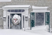Cape Cod Metal Prints - Door and window of Cape Cod home during Blizzard of 05 Metal Print by Matt Suess