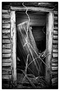 Clapboard House Photo Framed Prints - Door BW Framed Print by Mark Wagoner