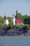 Peter L Wyatt Metal Prints - Door County Scenery - Sherwood Point Lighthouse Metal Print by Peter L Wyatt