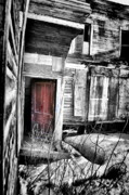Abandoned Houses Prints - Door in Purple Print by Emily Stauring