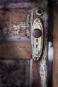 Mystery Door Framed Prints - Door Knob And Peeling Paint Framed Print by Jill Battaglia