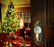 Winter Night Prints - Door opening into a Christmas living room Print by Sandra Cunningham