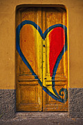 Painted Wood Prints - Door With Heart Print by Joana Kruse