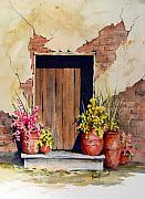 Pottery Painting Posters - Door With Pots Poster by Sam Sidders