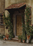 Pottery Painting Prints - Door With Roses Print by Sam Sidders