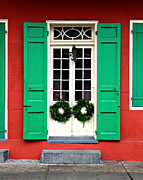French Door Prints - Door with wreaths Print by Perry Webster