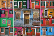 Europe Photo Framed Prints - doors and windows of Burano - Venice Framed Print by Joana Kruse