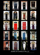 Collage Poster Framed Prints - Doors Of Charleston Sc Framed Print by Skip Willits