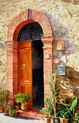Potted Plant Paintings - Doorway In Tuscany number 2 by Bob Nolin