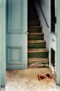 Pumps Prints - Doorway Stairs and red shoes Print by Jill Battaglia