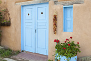 Taos Prints - Doorway With Chili Peppers Print by Bryan Mullennix