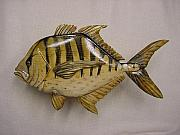 Marine Reliefs - Dorade Wooden Fish by Lisa Ruggiero